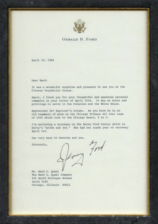 Original Signature Letter Former President Gerald Ford April 23, 198   - TvMovieCards.com