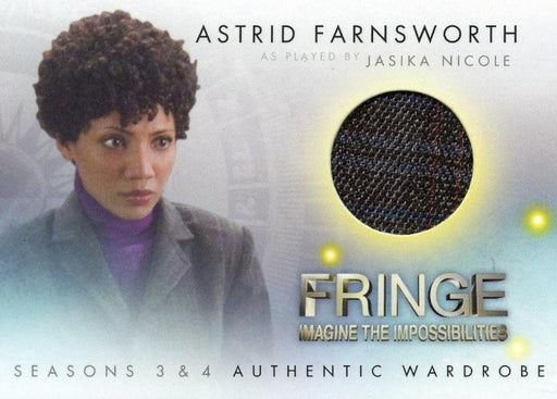 Fringe Seasons 3 & 4 Jasika Nicole Astrid Farnsworth Wardrobe Costume Card M3   - TvMovieCards.com