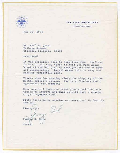 Original Signature Letter Vice President Gerald Ford May 22, 1974   - TvMovieCards.com