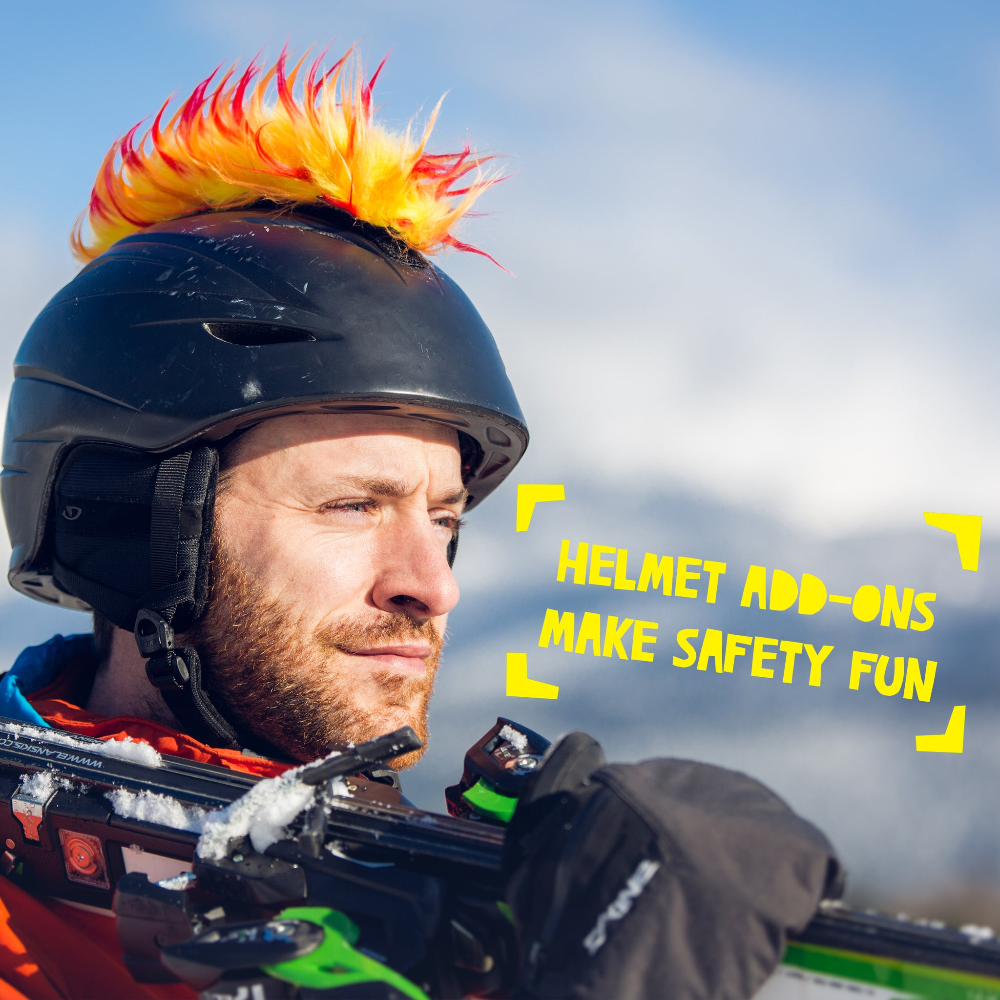 Yacu the Iguana Helmet Mohawk Accessory in Red/Yellow