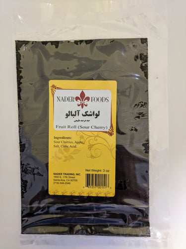 Sour Cherry Fruit Roll (Lavashak Albaloo), Nader, 3oz