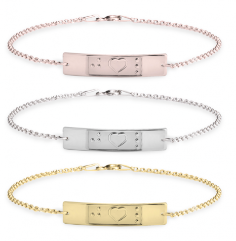 Braille Initial Heart Anklet
