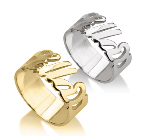 Cursive Name Ring