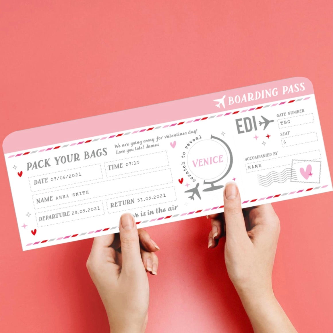 SCRATCH PANEL | Personalised Customised Boarding Pass Ticket | Valentines Edition