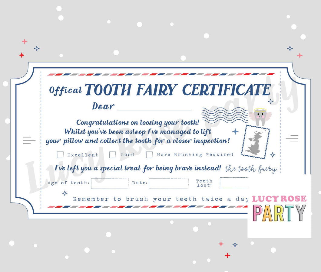 PRINT AT HOME | Personalised Tooth Fairy Certificate Ticket