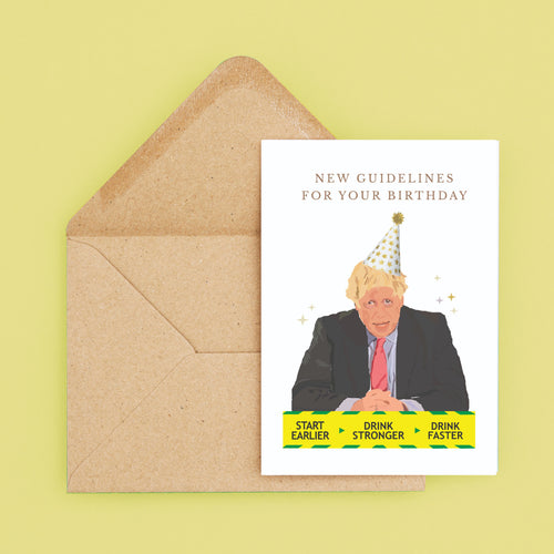 SINGLE CARD | Funny Boris Johnson New Guidelines Birthday Card | A5 Size