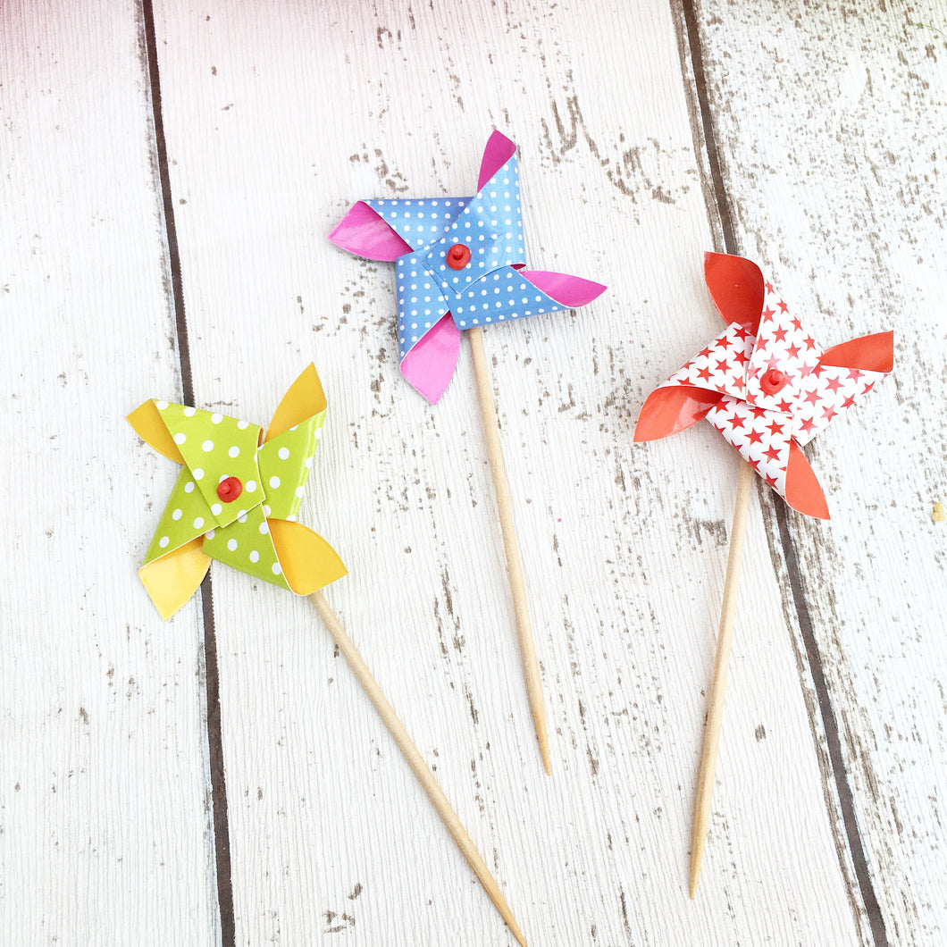 Mini Windmill Cup Cake Toppers (Pack of 10)