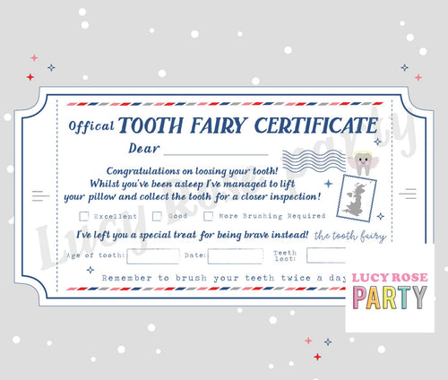 Physical Personalised Tooth Fairy Certificate Ticket