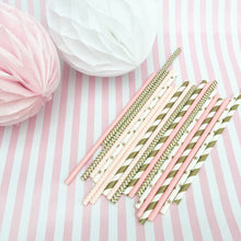 Pink Multi Pattern Paper Straw (25 Pieces)