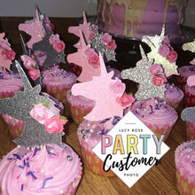 Unicorn Heads Cup Cake Toppers (With Flowers)