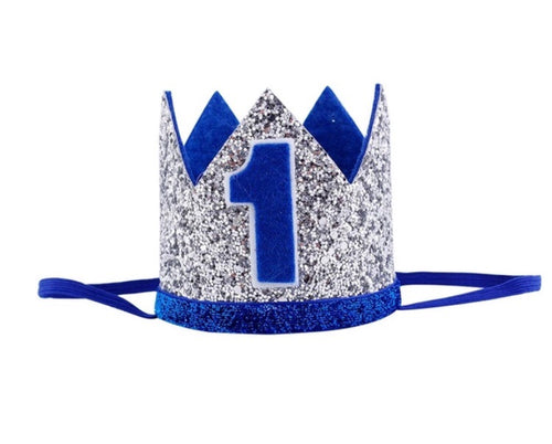 Silver & Navy Age 1 Party Hat