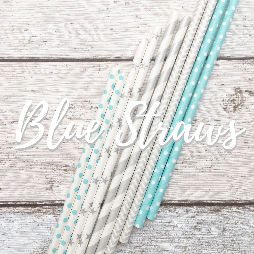 Baby Blue & Grey Paper Straws (25 Pieces)