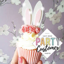 Bunny Ears With Flowers Cup Cake Toppers