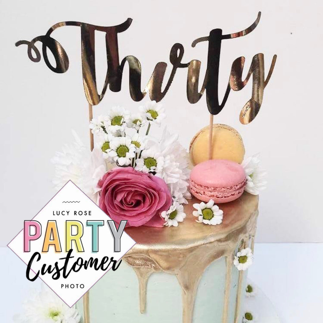 Thirty Birthday Age Cake Topper (Non-Personalised)