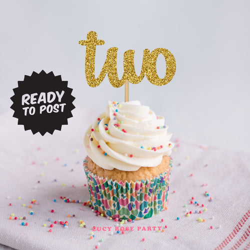 Age Two Cup Cake Toppers