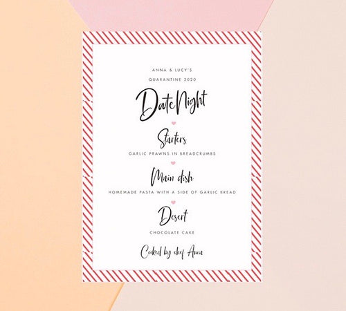 Personalised Quarantine Date Night Menu PDF DOWNLOAD
