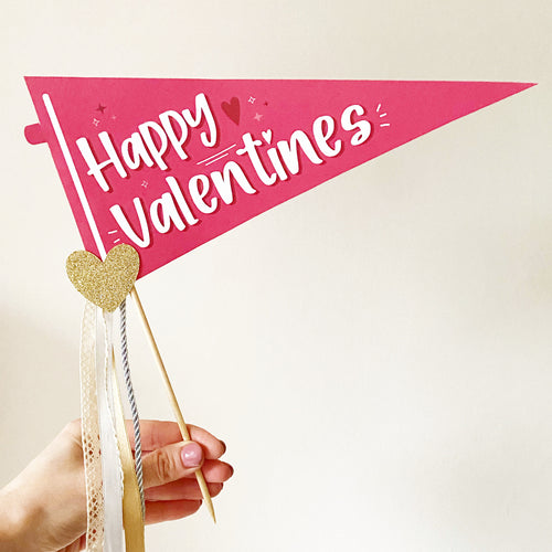Happy Valentines Pennant Flag | Print at Home