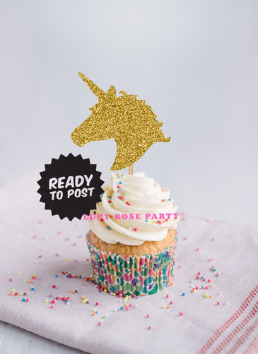 Unicorn Heads Cup Cake Toppers (Without Flowers)