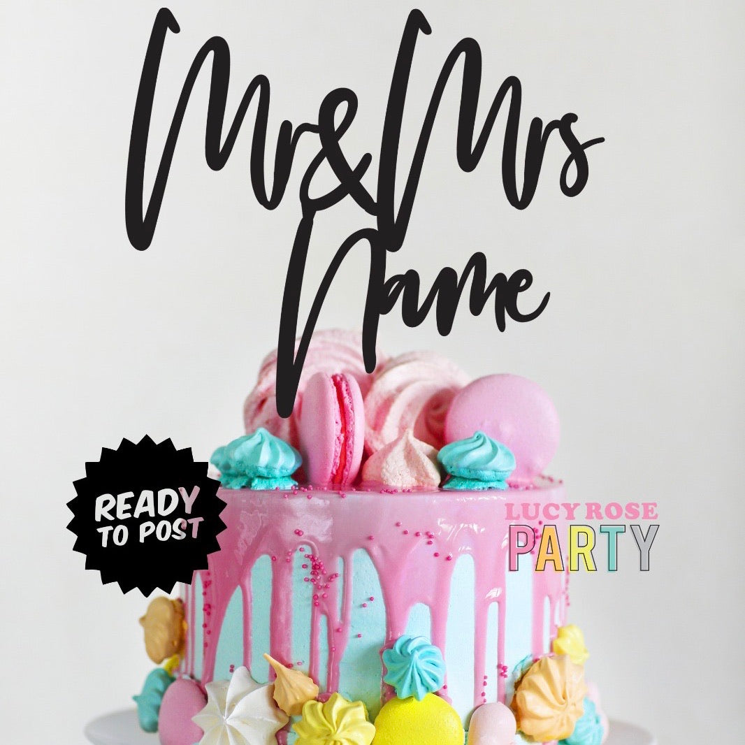 Personalised Mr & Mrs Cake Topper Version 2