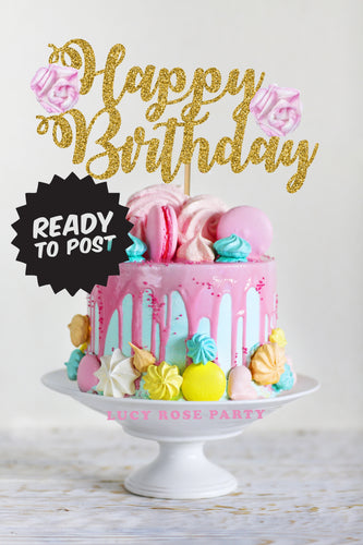 Floral Happy Birthday Cake Topper Swirl Font (Not Personalised)
