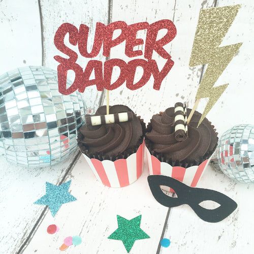 Fathers Day Super Hero Cup Cake Toppers (Pack of 8)