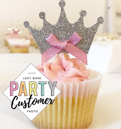 Prince Princess Crown Cup Cake Toppers