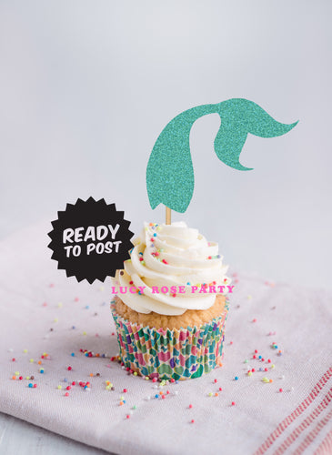 Mermaid Tail Cup Cake Toppers
