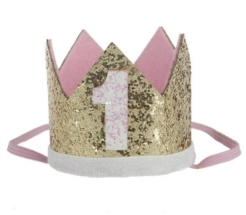 Gold & Pink Age 1 Party Hat