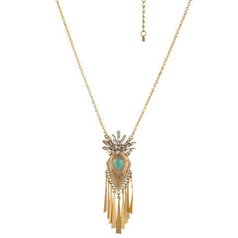 Turquoise Diamond Crown Necklace