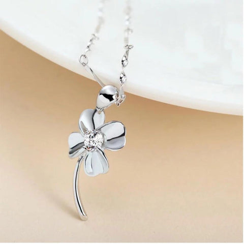 925 SS 4 Leaf Clover Flower Necklace