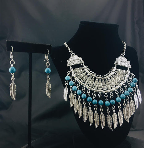Beaded Leaves Necklace Set