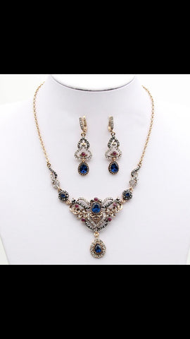Blue Rhinestone Necklace Set