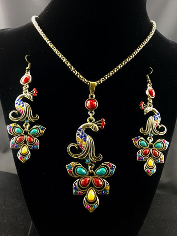 Colorful Peacock Necklace Set