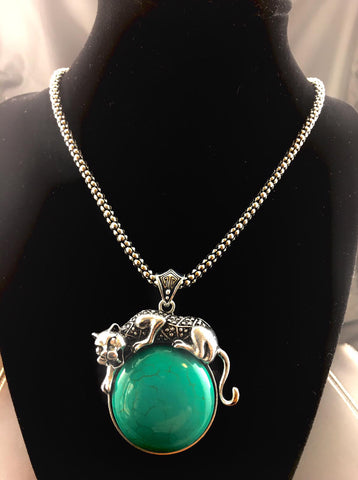 Green Jaguar Pendant Necklace