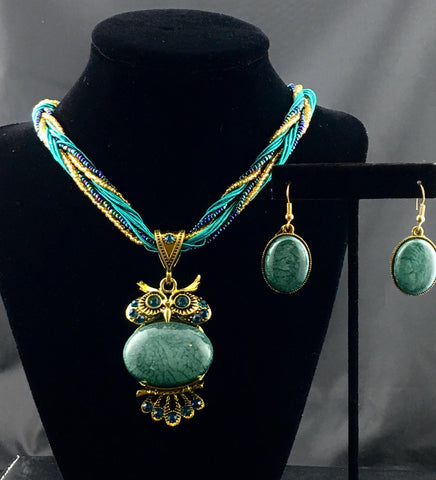 Green Owl Necklace Set