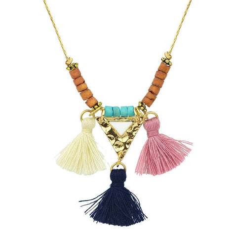 Lilac Breasted Roller Tassel Necklace