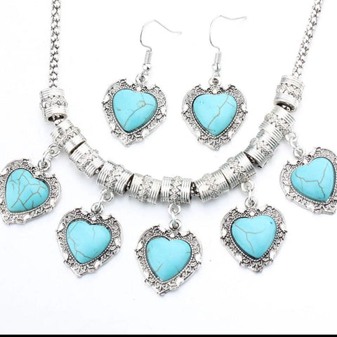 Hanging Hearts Boho Necklace Set