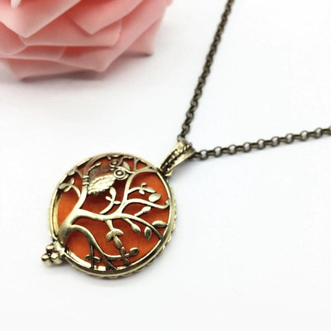 Owl and Tree of Life Oil Diffuser Necklace
