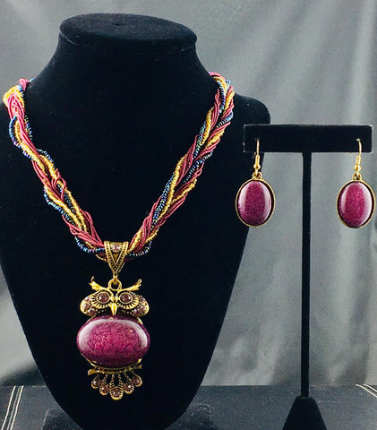 Purple Owl Necklace Set