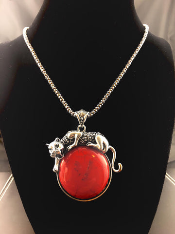 Red Jaguar Pendant Neckace
