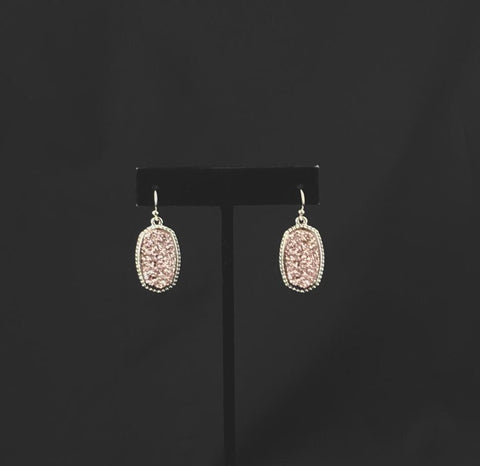 Silver Edge Glittery Rose Gold Earring