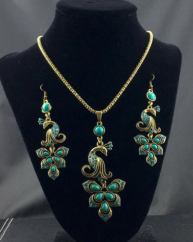 Vintage Peacock Necklace Set