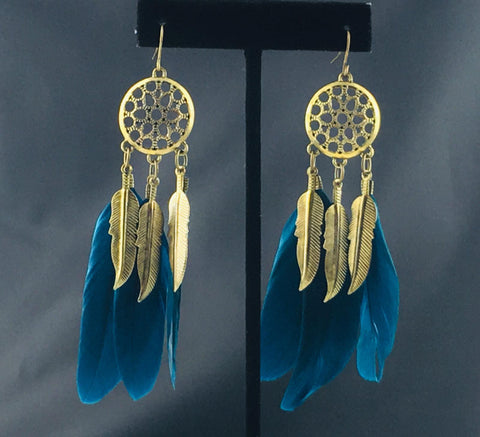 Antiquebluefeather Earring