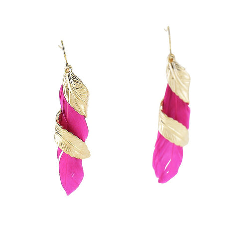 Rosefinch Golden Feather Earring