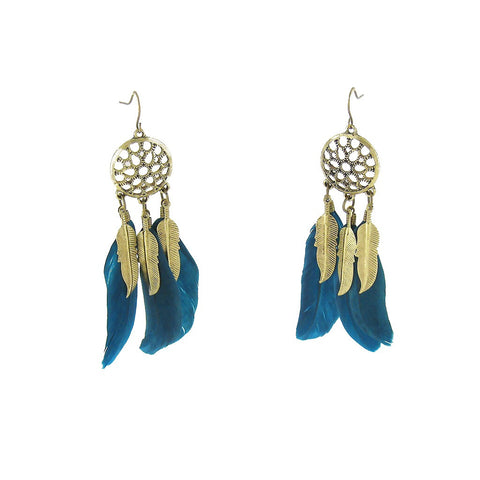 Greenshank Teal Feather Earrings