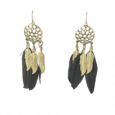 Raven Black Feather Earrings