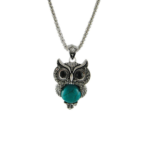 Antique Silver Tone, Beaded Chain, Turquoise Owl Pendant