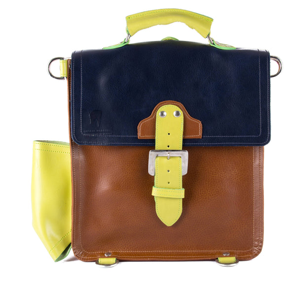 The Hawley in Navy/Tan with Lime Accents