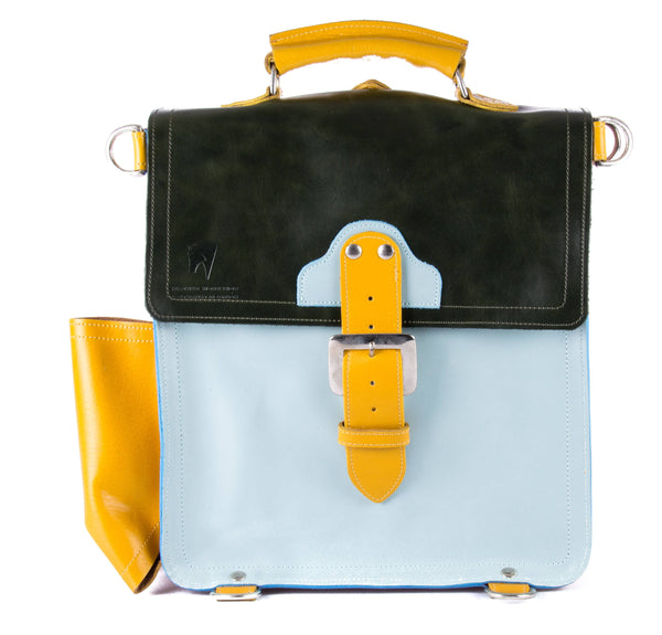 The Hawley in Dark Green/Baby Blue with Mango Accents