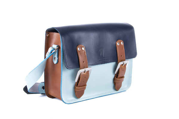 The Albert in Navy/Baby Blue with Brown Accents